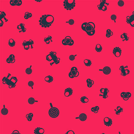 Set Lollipop, Baby bib, Toy train and dummy pacifier on seamless pattern. Vector Vector Illustratie
