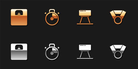 Set Bathroom scales, Stopwatch, Pommel horse and Medal icon. Vector