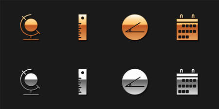 Set Earth globe, Ruler, Acute angle and Calendar icon. Vector