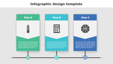 Set Stationery knife, Calculator and Basketball ball. Business infographic template. Vector