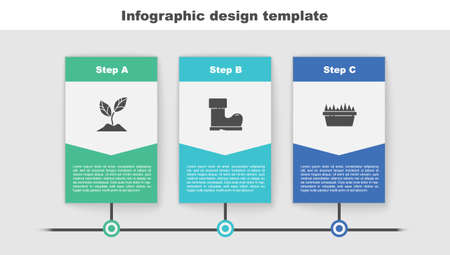 Set Plant, Waterproof rubber boot and Fresh grass in rectangular. Business infographic template. Vector