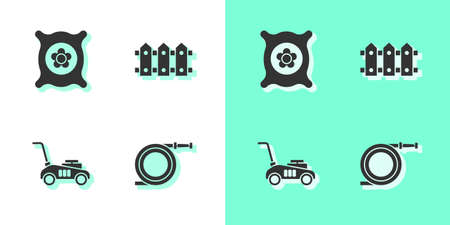 Set Garden hose or fire hose, Pack full of seeds of plant, Lawn mower and fence wooden icon. Vector