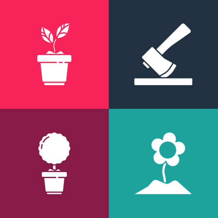 Set pop art Flower, plant in pot, Wooden axe and Plant icon. Vector