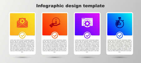 Set Envelope setting, Information, Browser and Stopwatch. Business infographic template. Vector  イラスト・ベクター素材