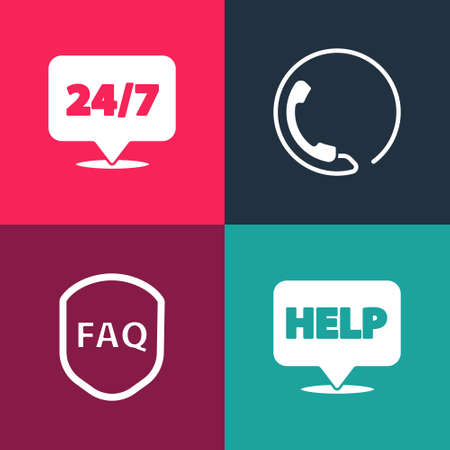 Set pop art Speech bubble with text Help, Shield FAQ, Telephone 24 hours support and Clock icon. Vector