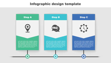 Set Location with gear, Speech bubble FAQ and Time Management. Business infographic template. Vector  イラスト・ベクター素材