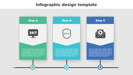 Set Clock 24 hours, Shield with text Help and Envelope setting. Business infographic template. Vector  イラスト・ベクター素材