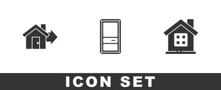 Set Sale house, Closed door and House icon. Vector
