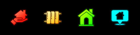 Set Real estate, Heating radiator, House and Location with house icon. Vector
