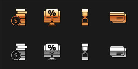 Set Coin money with dollar, Percent discount and monitor, Old hourglass and Credit card icon. Vector