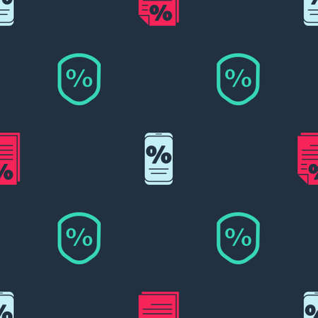 Set Finance document, Percent discount and mobile and Loan percent on seamless pattern. Vector