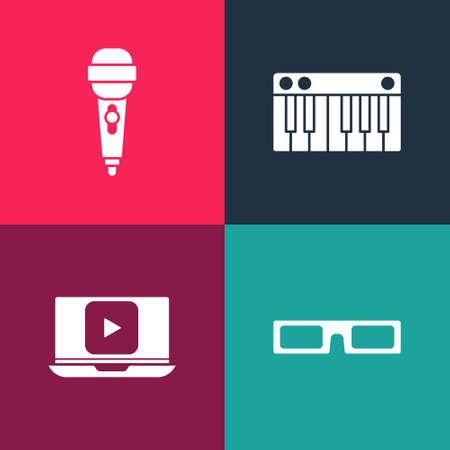 Set pop art Cinema glasses, Online play video, Music synthesizer and Microphone icon. Vector