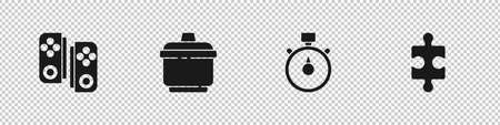 Set Gamepad, Cooking pot, Stopwatch and Piece of puzzle icon. Vector  イラスト・ベクター素材