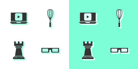 Set Cinema glasses, Online play video, Business strategy and Kitchen whisk icon. Vector