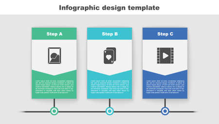 Set Picture landscape, Playing cards and Video. Business infographic template. Vector  イラスト・ベクター素材