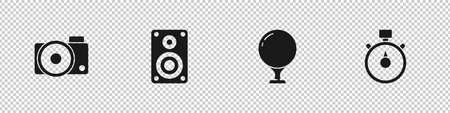 Set Photo camera, Stereo speaker, Golf ball on tee and Stopwatch icon. Vector  イラスト・ベクター素材