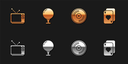 Set Retro tv, Golf ball on tee, Vinyl disk and Playing cards icon. Vector