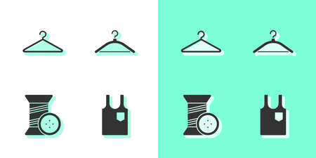 Set Sleeveless T-shirt, Hanger wardrobe, Sewing thread and button and icon. Vector