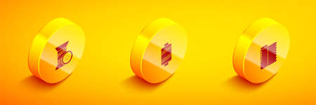 Set Isometric Sewing thread and button, and Textile fabric roll icon. Vector