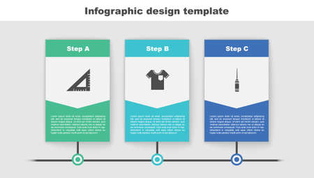 Set Triangular ruler, T-shirt and Awl tool. Business infographic template. Vector  イラスト・ベクター素材