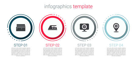 Set Tape measure, Electric iron, Location tailor shop. Business infographic template. Vector  イラスト・ベクター素材