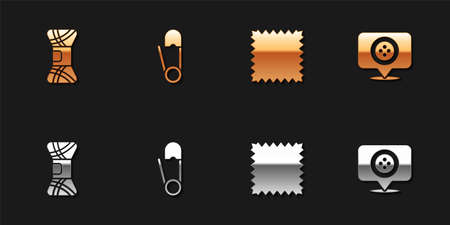 Set Yarn, Safety pin, Leather and Location tailor shop icon. Vector