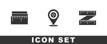Set Tape measure, Location tailor shop icon. Vector