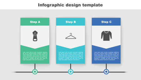 Set Zipper, Hanger wardrobe and Sweater. Business infographic template. Vector