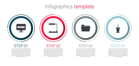 Set Location with text work, Table lamp, Document folder and Push pin. Business infographic template. Vector