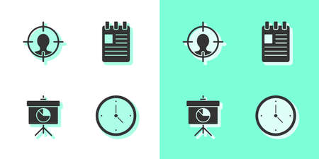 Set Clock, Head hunting concept, Chalkboard with diagram and Spiral notebook icon. Vector