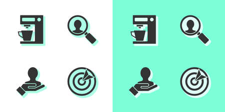 Set Target sport, Coffee machine, Hand for search people and Magnifying glass icon. Vector