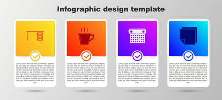 Set Office desk, Coffee cup, Calendar and Post note stickers. Business infographic template. Vector  イラスト・ベクター素材
