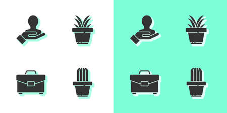 Set Cactus and succulent in pot, Hand for search people, Briefcase and Plant icon. Vector