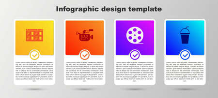 Set Online play video, Cinema camera, Film reel and Paper glass with straw. Business infographic template. Vector