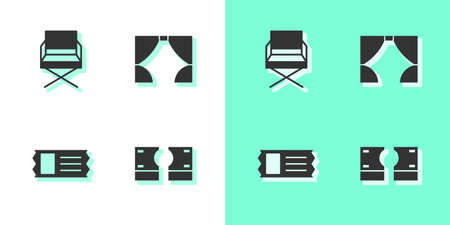 Set Stacks paper money cash, Director movie chair, Cinema ticket and Curtain icon. Vector  イラスト・ベクター素材