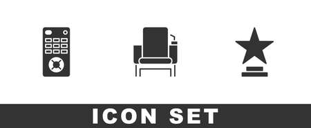 Set Remote control, Cinema chair and Movie trophy icon. Vector  イラスト・ベクター素材