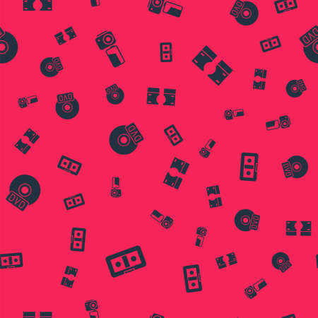 Set VHS video cassette tape, Cinema camera, CD or DVD disk and Stacks paper money cash on seamless pattern. Vector  イラスト・ベクター素材