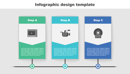 Set Online play video, Cinema camera and CD or DVD disk. Business infographic template. Vector  イラスト・ベクター素材