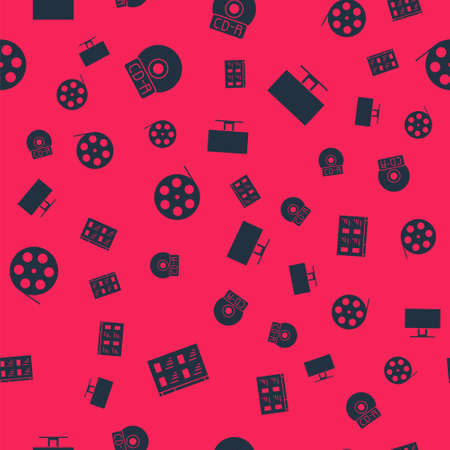 Set Online play video, CD or DVD disk, Film reel and Smart Tv on seamless pattern. Vector