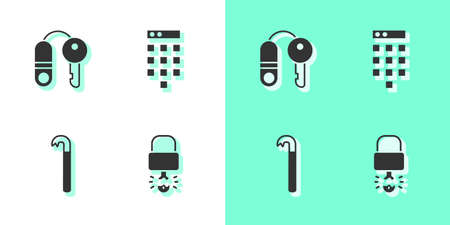 Set Key broke inside of padlock, House with key, Crowbar and Password protection icon. Vector