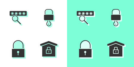 Set House under protection, Password, Lock and and key icon. Vector  イラスト・ベクター素材