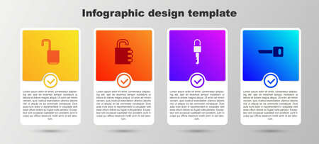 Set Open padlock, Safe combination, Locked key and Key. Business infographic template. Vector