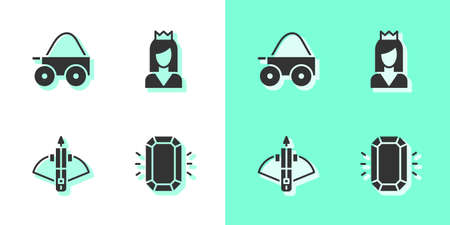Set Diamond, Wooden four-wheel cart, Battle crossbow with arrow and Princess icon. Vector  イラスト・ベクター素材