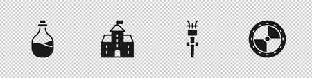 Set Old bottle of wine, Castle, fortress, Torch flame and Round wooden shield icon. Vector  イラスト・ベクター素材