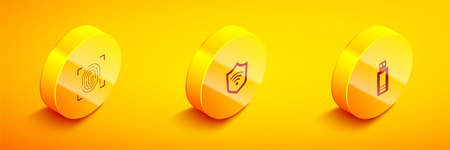 Set Isometric Fingerprint, Shield with WiFi wireless and USB flash drive icon. Vector  イラスト・ベクター素材