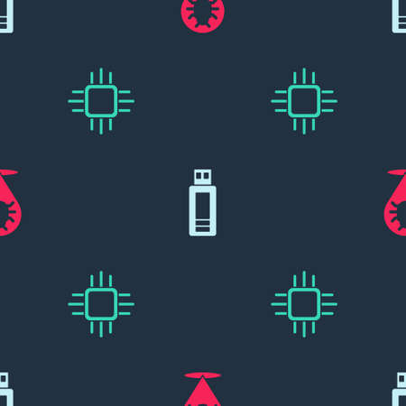 Set System bug, USB flash drive and Processor with microcircuits CPU on seamless pattern. Vector  イラスト・ベクター素材