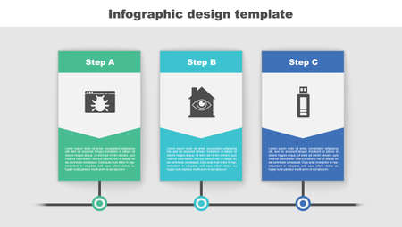 Set System bug, House with eye scan and USB flash drive. Business infographic template. Vector