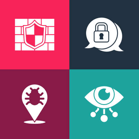 Set pop art Eye scan, System bug, Cyber security and Shield with brick wall icon. Vector
