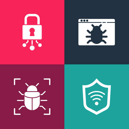Set pop art Shield with WiFi wireless, System bug, and Cyber security icon. Vector  イラスト・ベクター素材