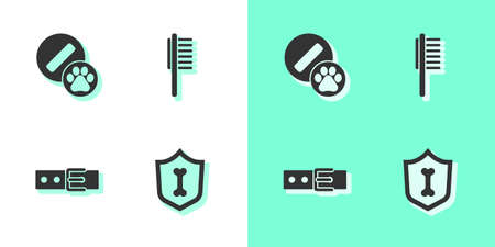 Set Animal health insurance, Dog pill, Collar with name tag and Pets vial medical icon. Vector  イラスト・ベクター素材